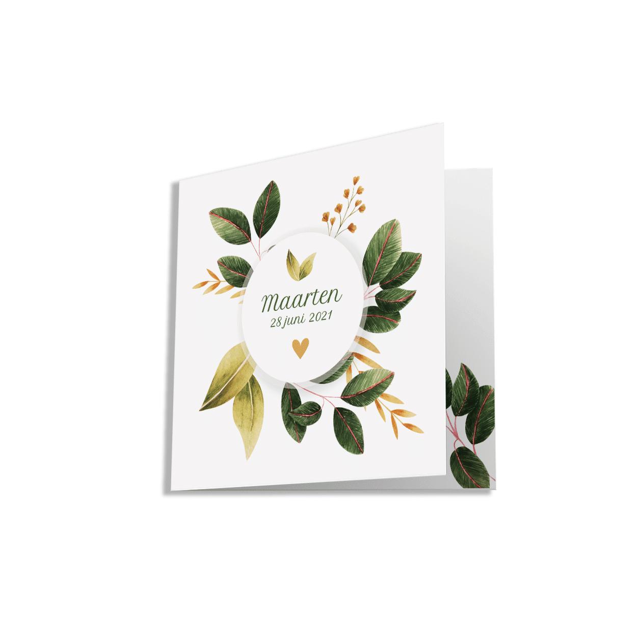 Geboortekaartje met prachtig botanisch ontwerp