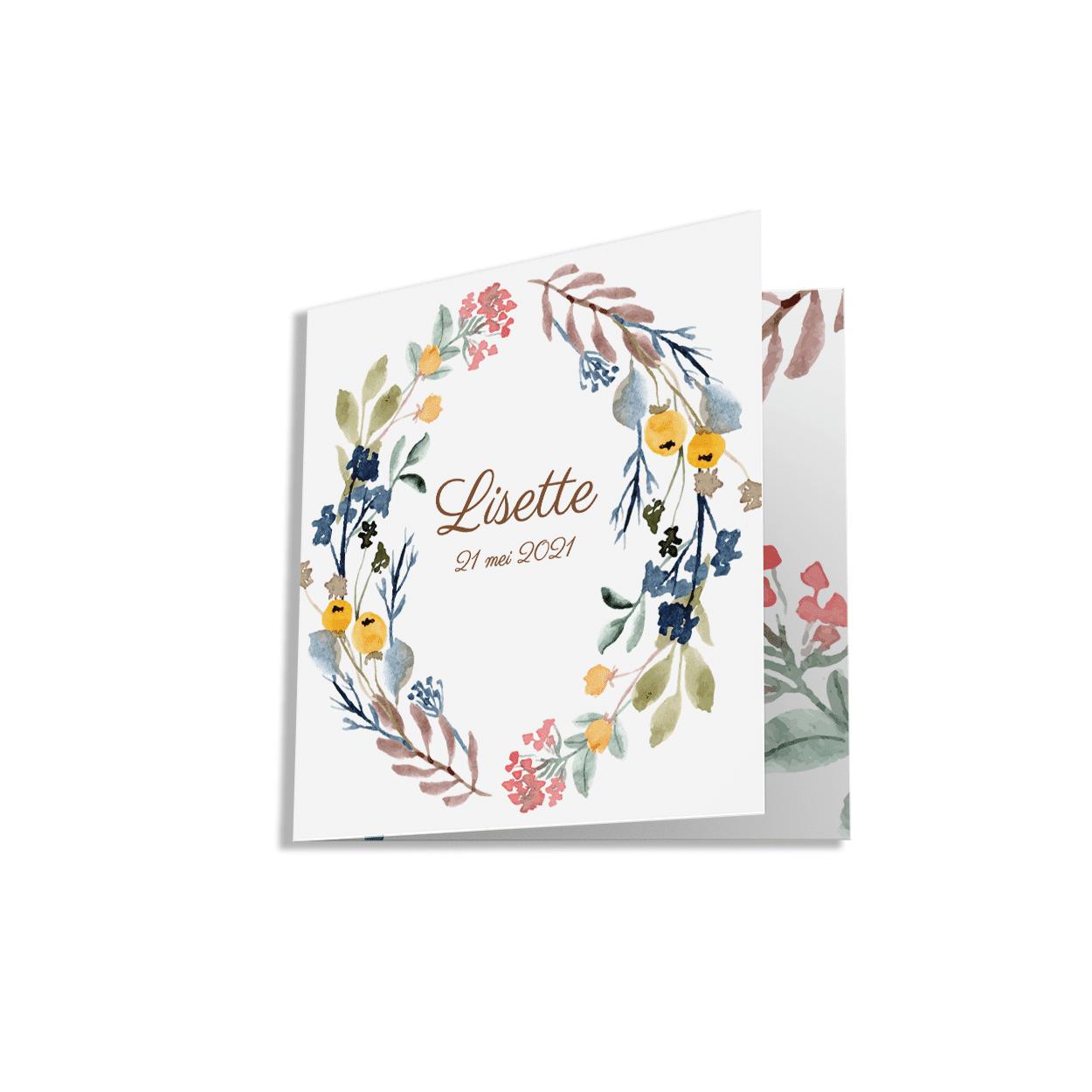 Geboortekaartje met kleurrijk botanisch ontwerp