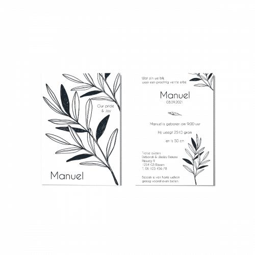Klassiek zwart wit botanisch geboortekaartje voor en achter