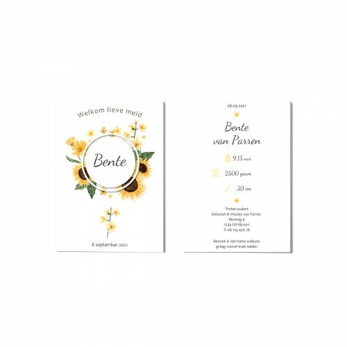 Geboortekaartje zonnebloemen voor en achter
