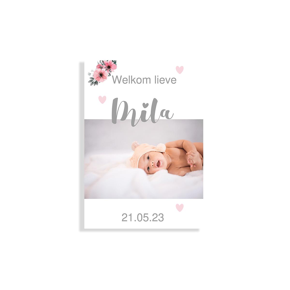 Foto geboortekaartje met bloemen en hartjes voorzijde