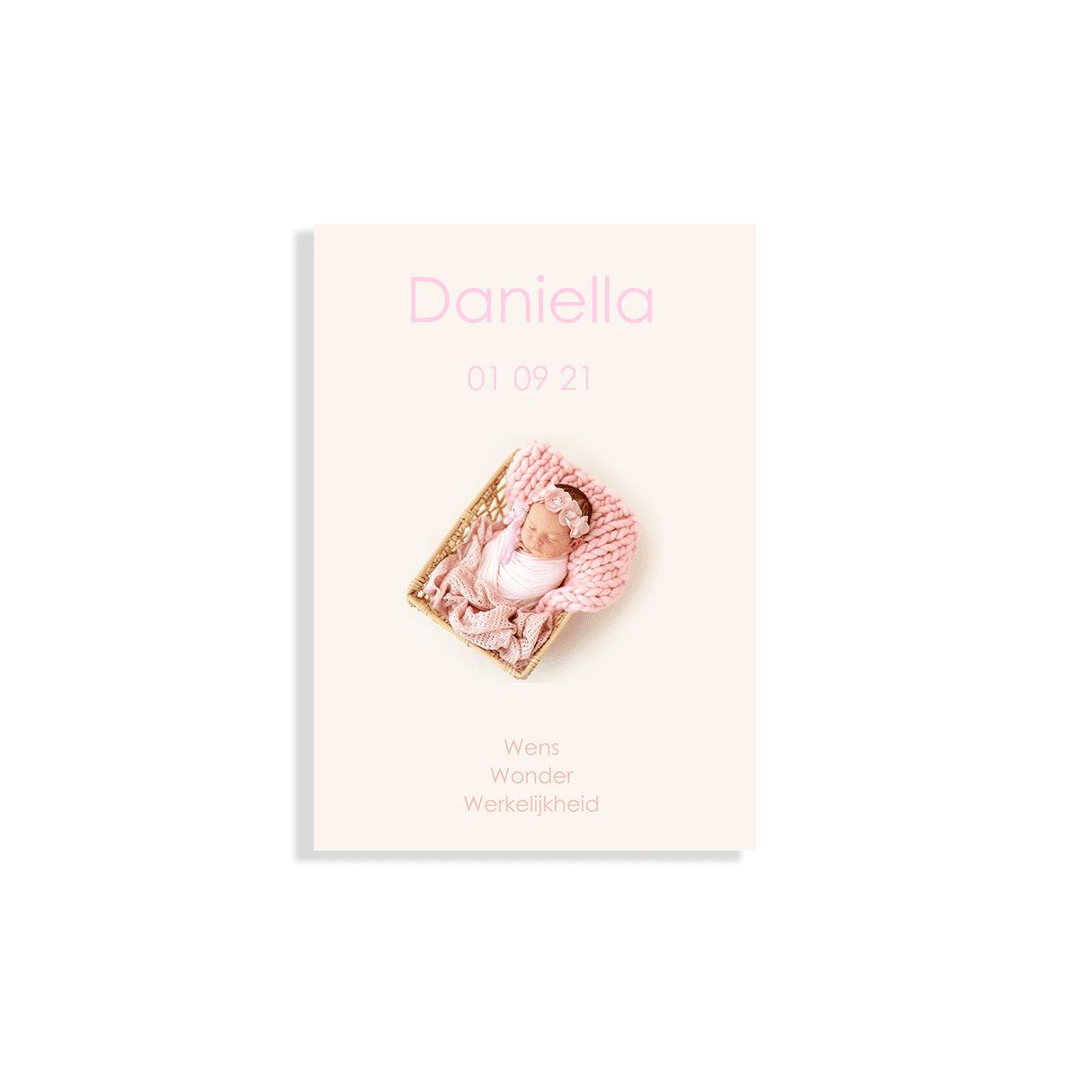 Geboortekaartje meisje zacht roze voorzijde