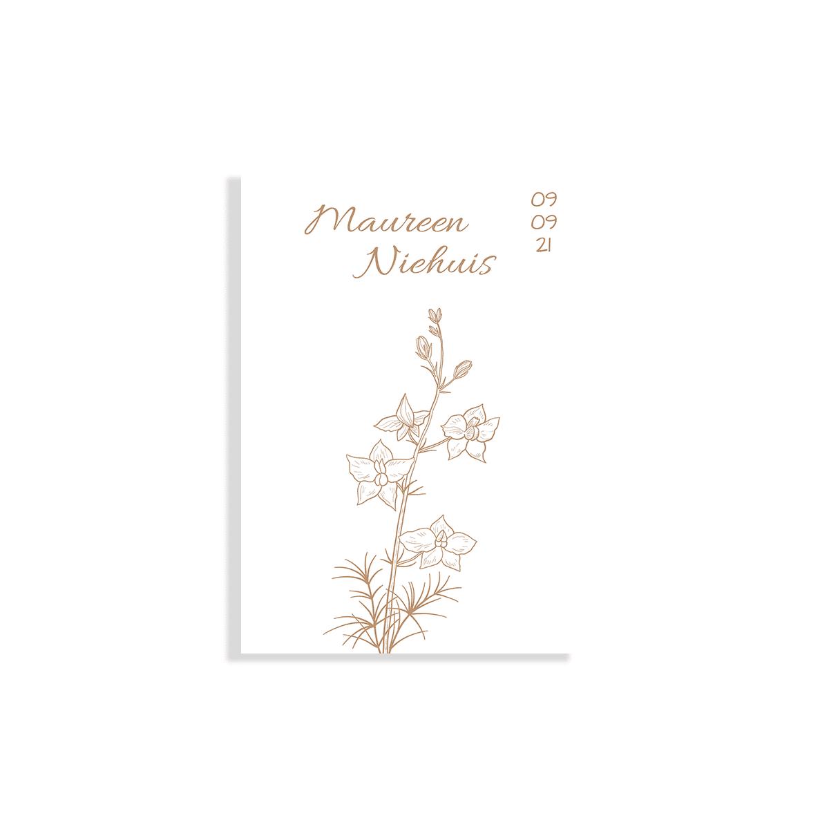 Minimalistisch geboortekaartje botanisch voorzijde