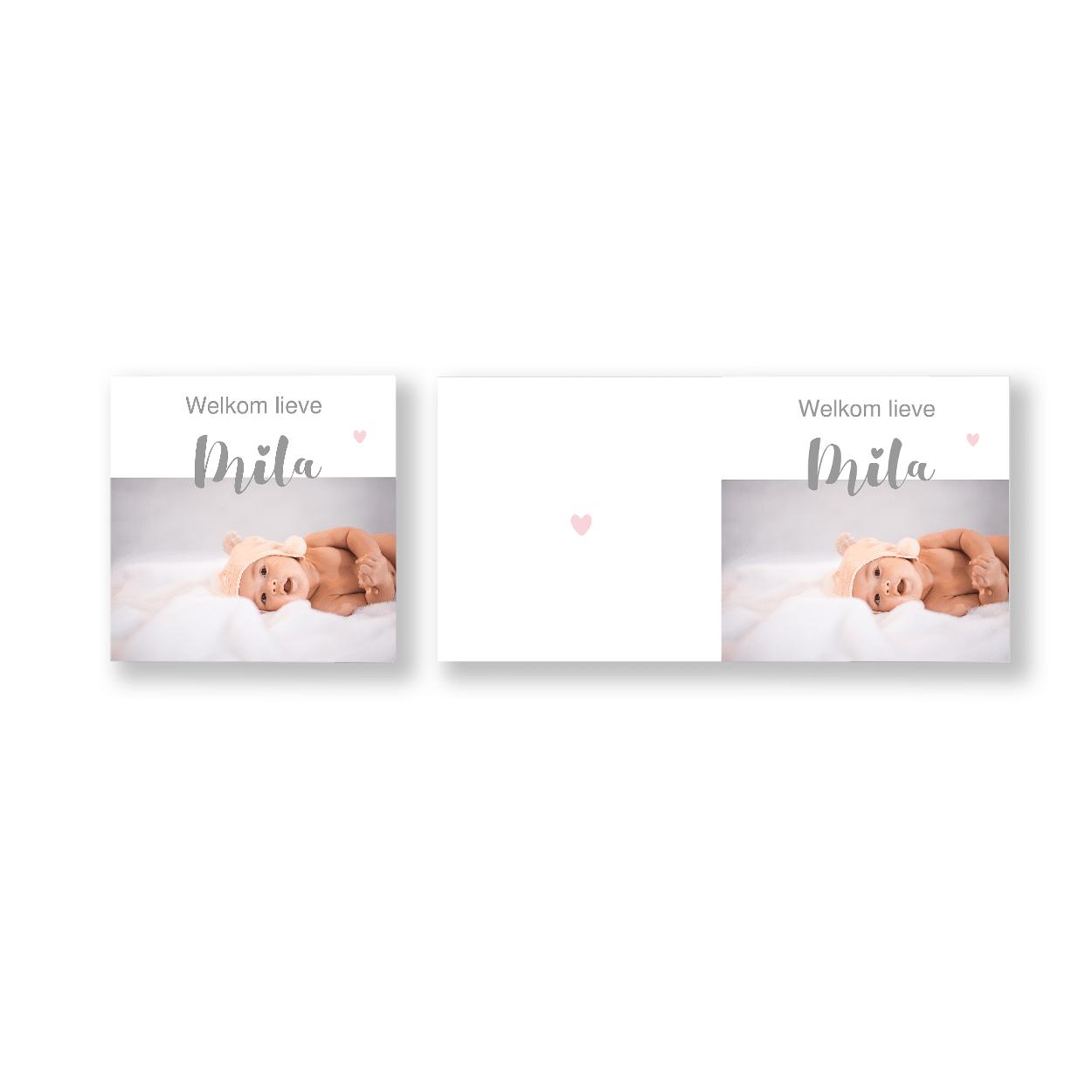 Foto geboortekaartje met bloemen en hartjes voor en achter