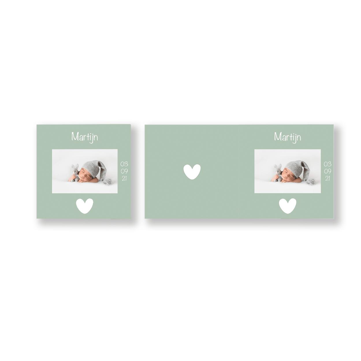 Mintgroen geboortekaartje jongen voor en achter