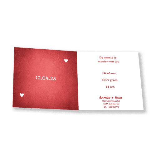 Rood geboortekaartje meisje met foto binnenkant