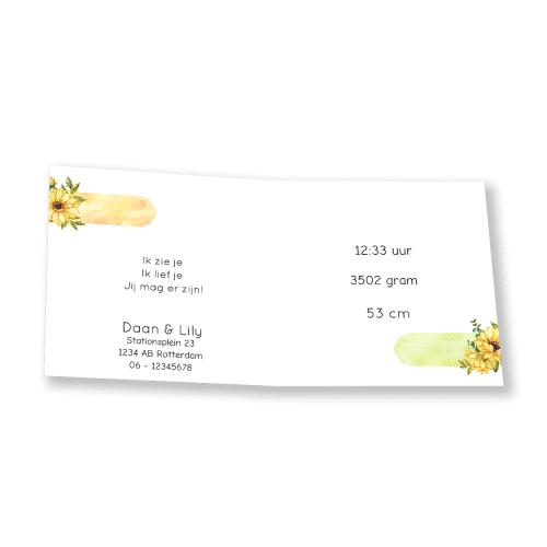 Geboortekaartje gele bloemen binnenkant