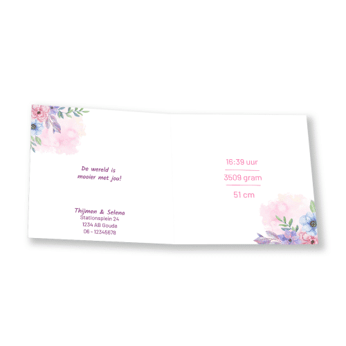 Klassiek geboortekaartje kleurrijke rozen binnenkant