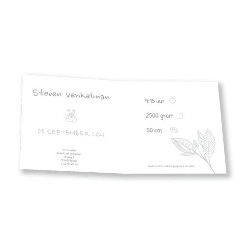 Minimalistisch bloemenkaartje binnenkant