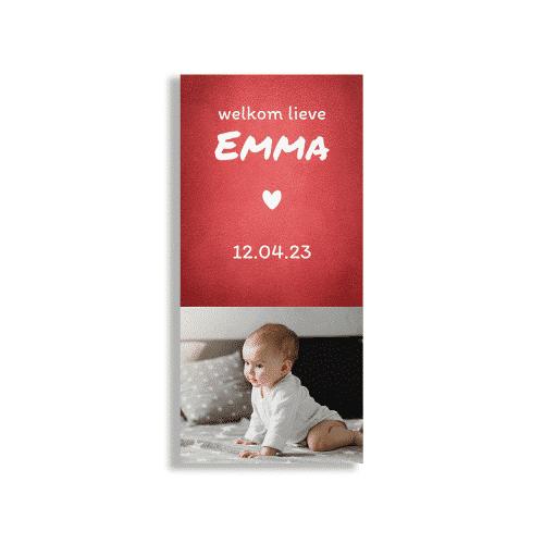 Rood geboortekaartje meisje met foto langwerpig voorzijde