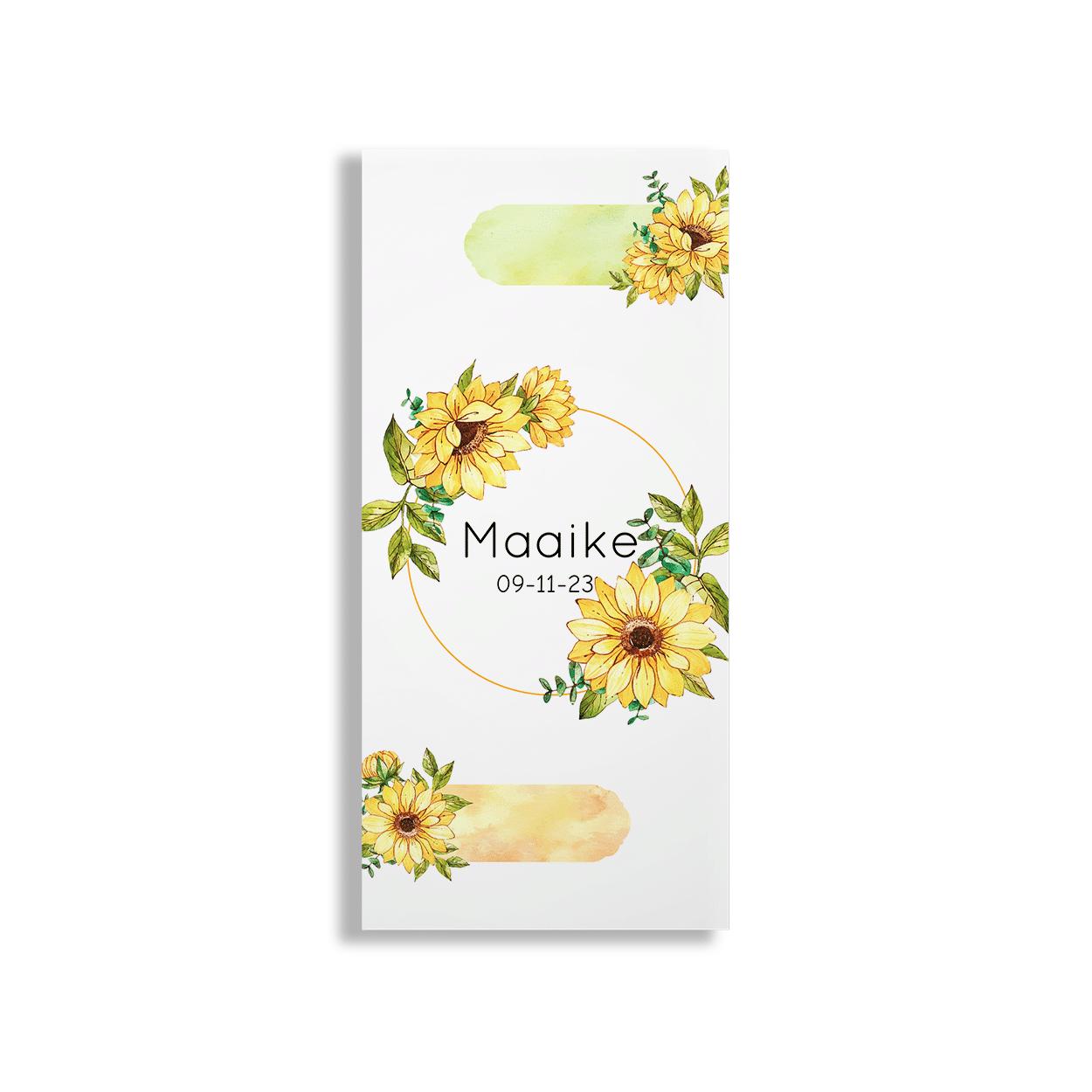 Geboortekaartje gele bloemen voorzijde