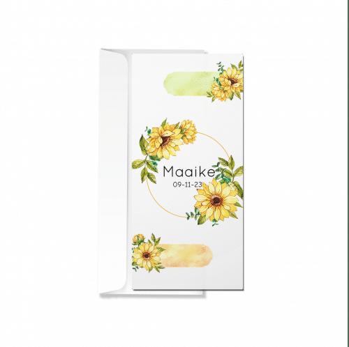 Geboortekaartje gele bloemen met envelop