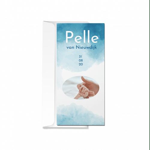 Geboortekaartje waterverf blauw met envelop