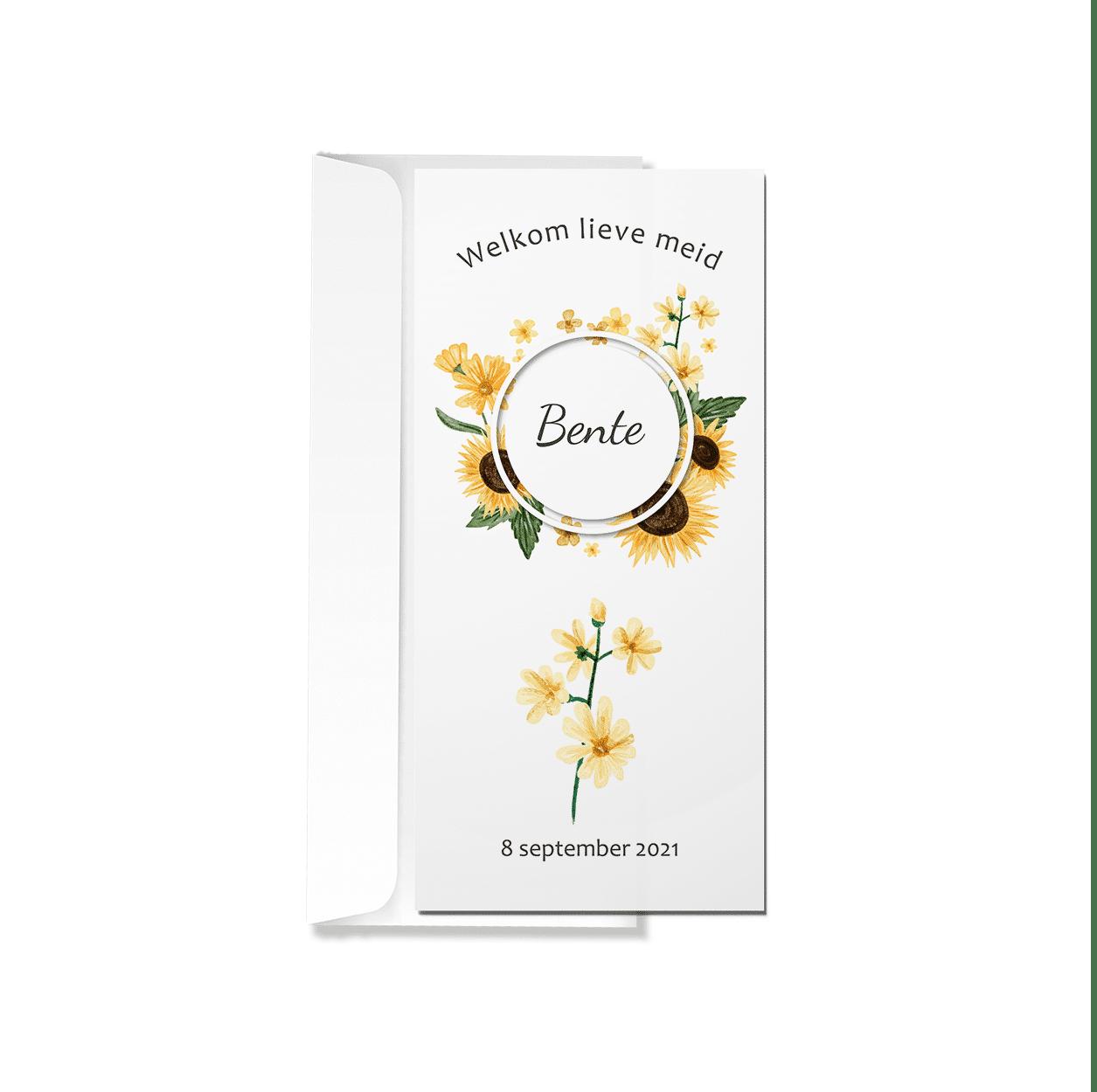 Geboortekaartje zonnebloemen met envelop