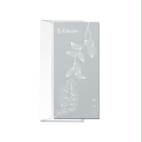 Minimalistisch bloemenkaartje met envelop