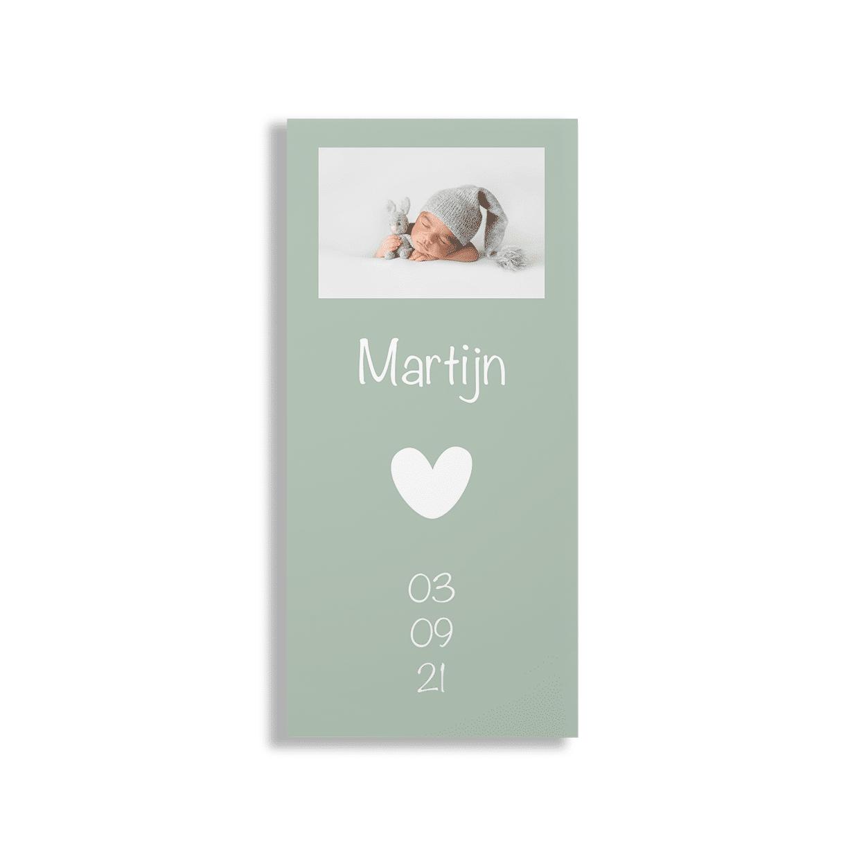 Mintgroen geboortekaartje jongen voorzijde
