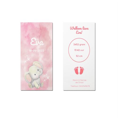 Geboortekaartje roze waterverf en olifantje voor en achter