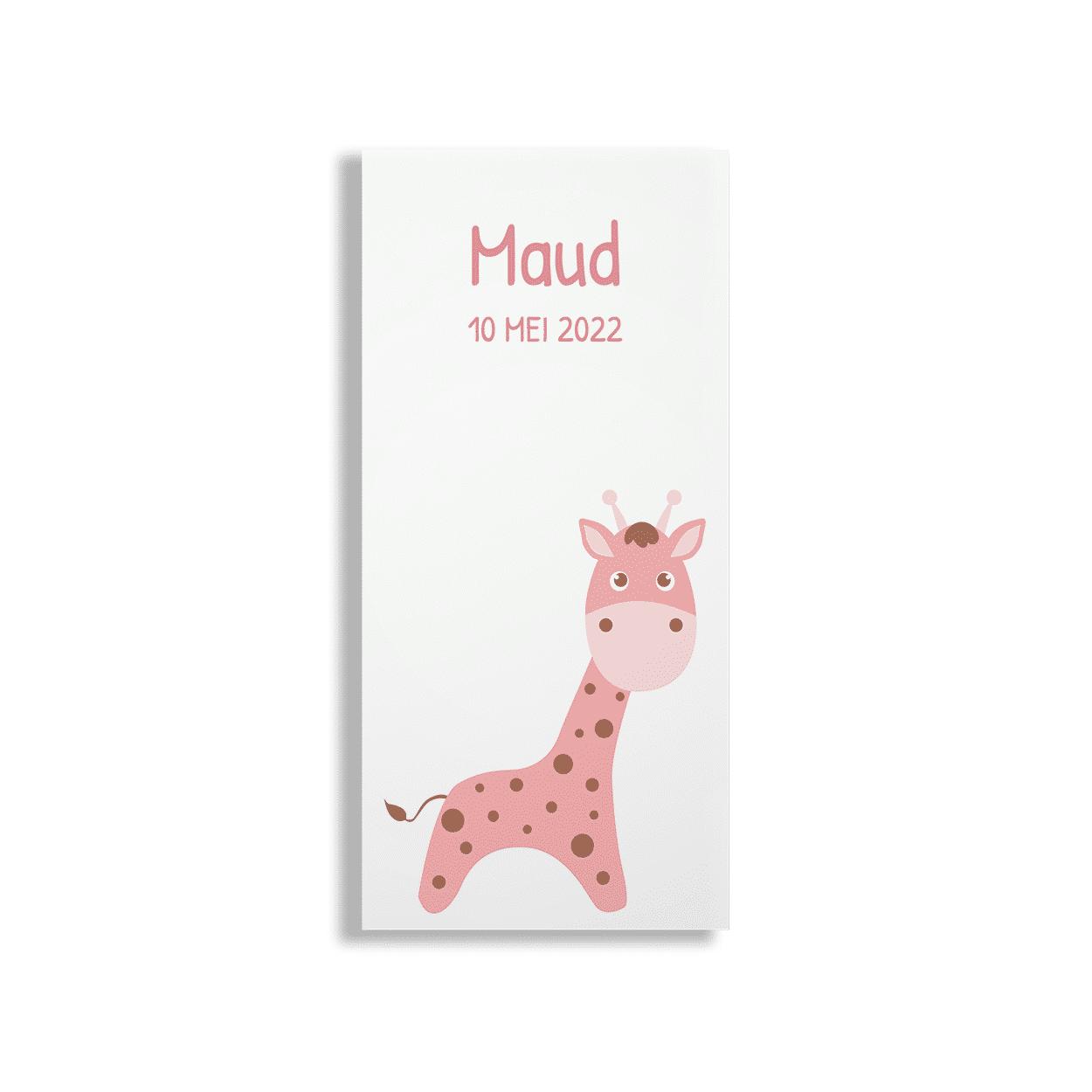 Hip geboortekaartje met roze girafje voorzijde