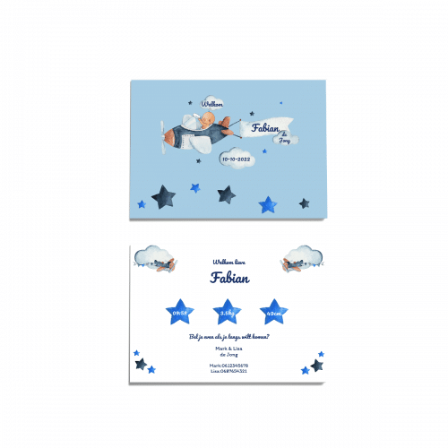 Hip kaartje met baby pilootje voor en achter