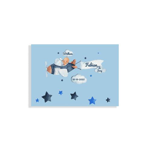 Hip rechthoekig kaartje met baby pilootje voorzijde