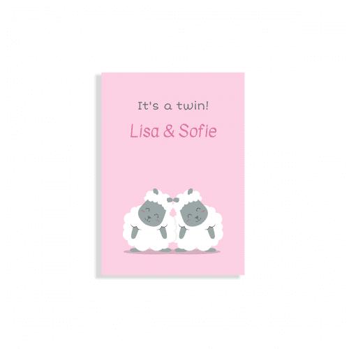 Hip geboortekaartje tweeling met schaapjes voorzijde