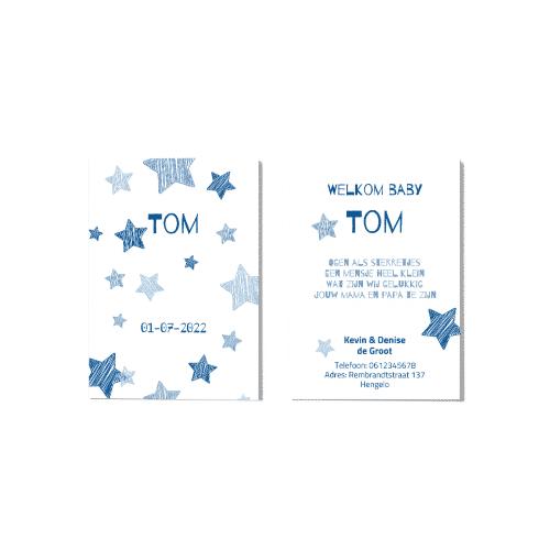 Hip geboortekaartje met getekende sterren voor en achter
