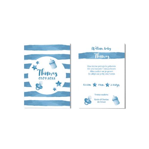 Hip geboortekaartje jongen blauw waterverf voor en achter