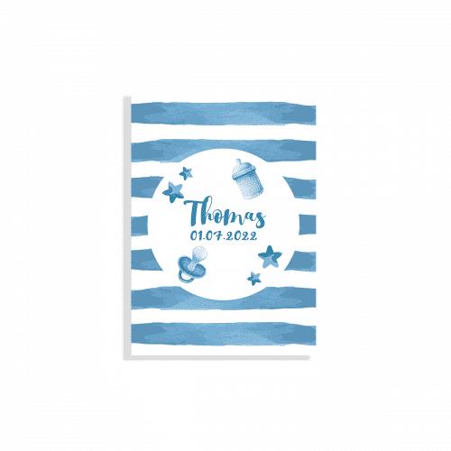 Hip geboortekaartje jongen blauw waterverf voorzijde