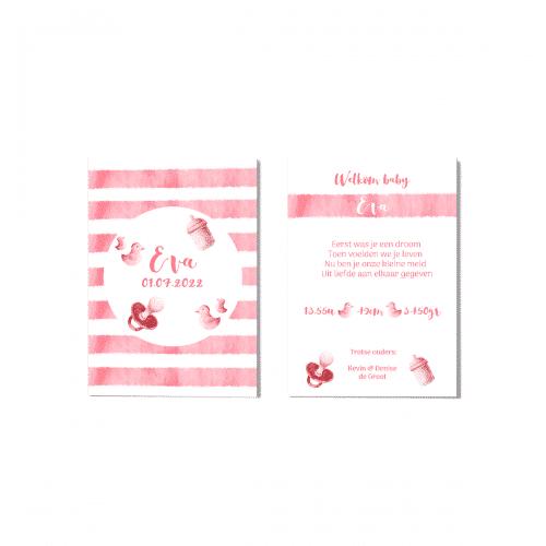 Hip geboortekaartje meisje roze waterverf voor en achter
