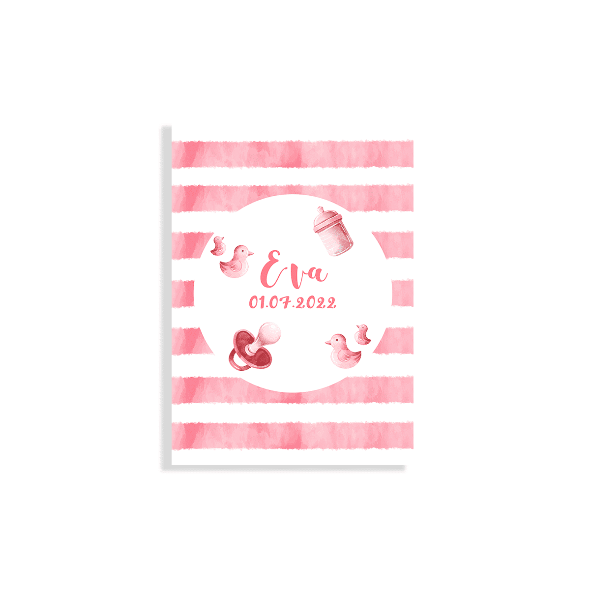 Hip geboortekaartje meisje roze waterverf voorzijde
