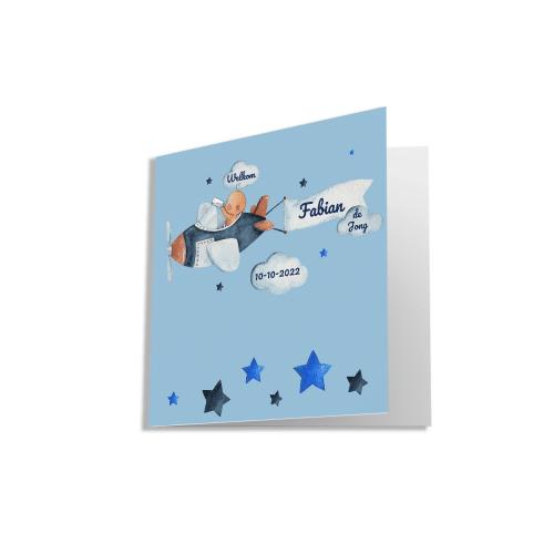 Hip kaartje met baby pilootje voorzijde