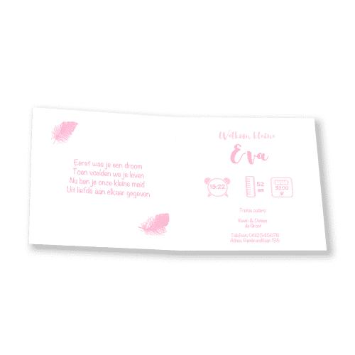 Klassiek geboortekaartje meisje met roze veren binnenkant