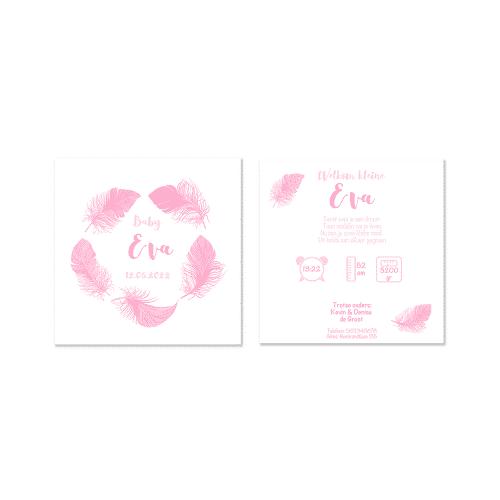 Klassiek geboortekaartje meisje met roze veren voor en achter