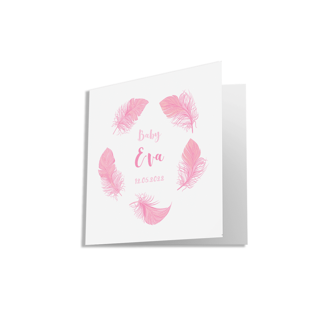 Klassiek geboortekaartje meisje met roze veren voorzijde