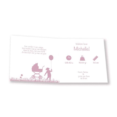 geboortekaartje meisje met roze verf en foto binnenkant