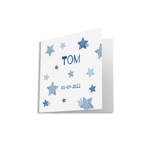 Hip geboortekaartje met getekende sterren voorzijde