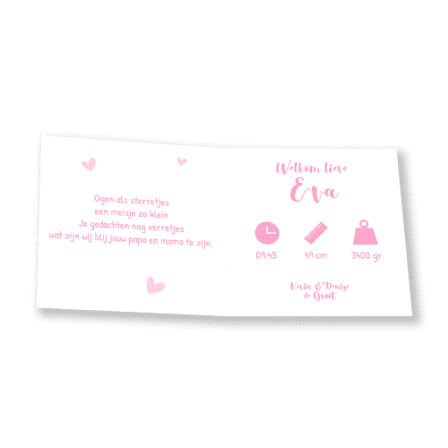 Klassiek geboortekaartje meisje met ooievaar binnenkant