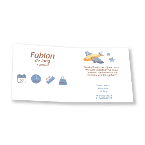 Stoer geboortekaartje vliegtuig en zeppelin binnenkant