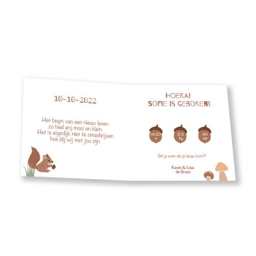 Geboortekaartje met bos thema binnenkant