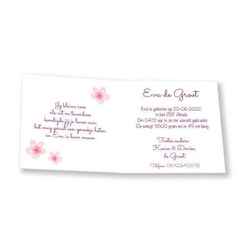 geboortekaartje meisje met kleurrijke bloemenkrans en eigen foto binnenkant