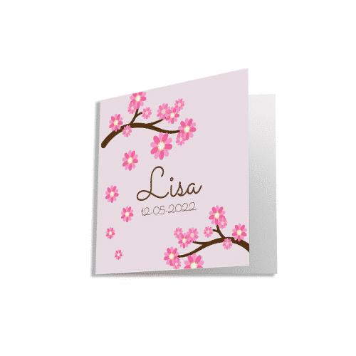 Geboortekaartje meisje met roze bloesem voorzijde