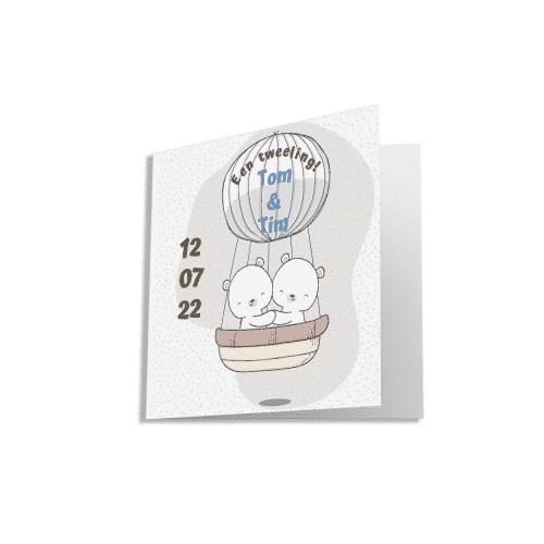 Geboortekaart tweeling beertjes in luchtballon voorzijde