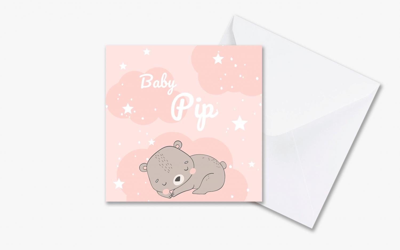 Geboortekaartje slapend beertje voor meisje met envelop