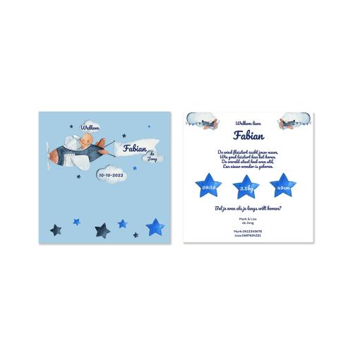 Hip vierkant kaartje met baby pilootje voor en achter
