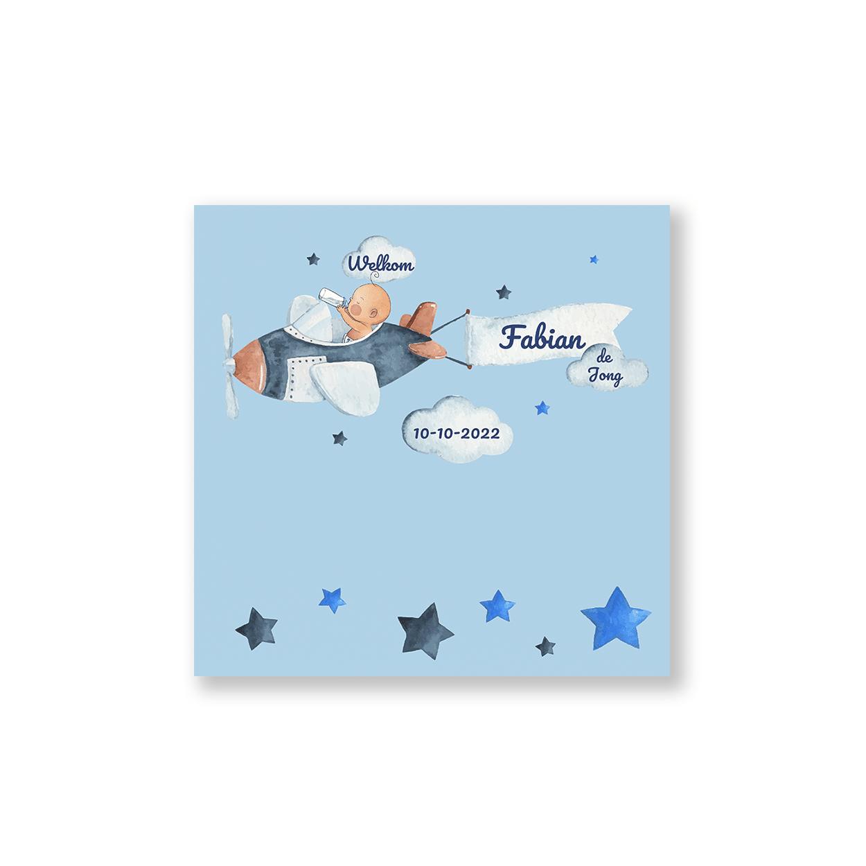 Hip vierkant kaartje met baby pilootje voorzijde
