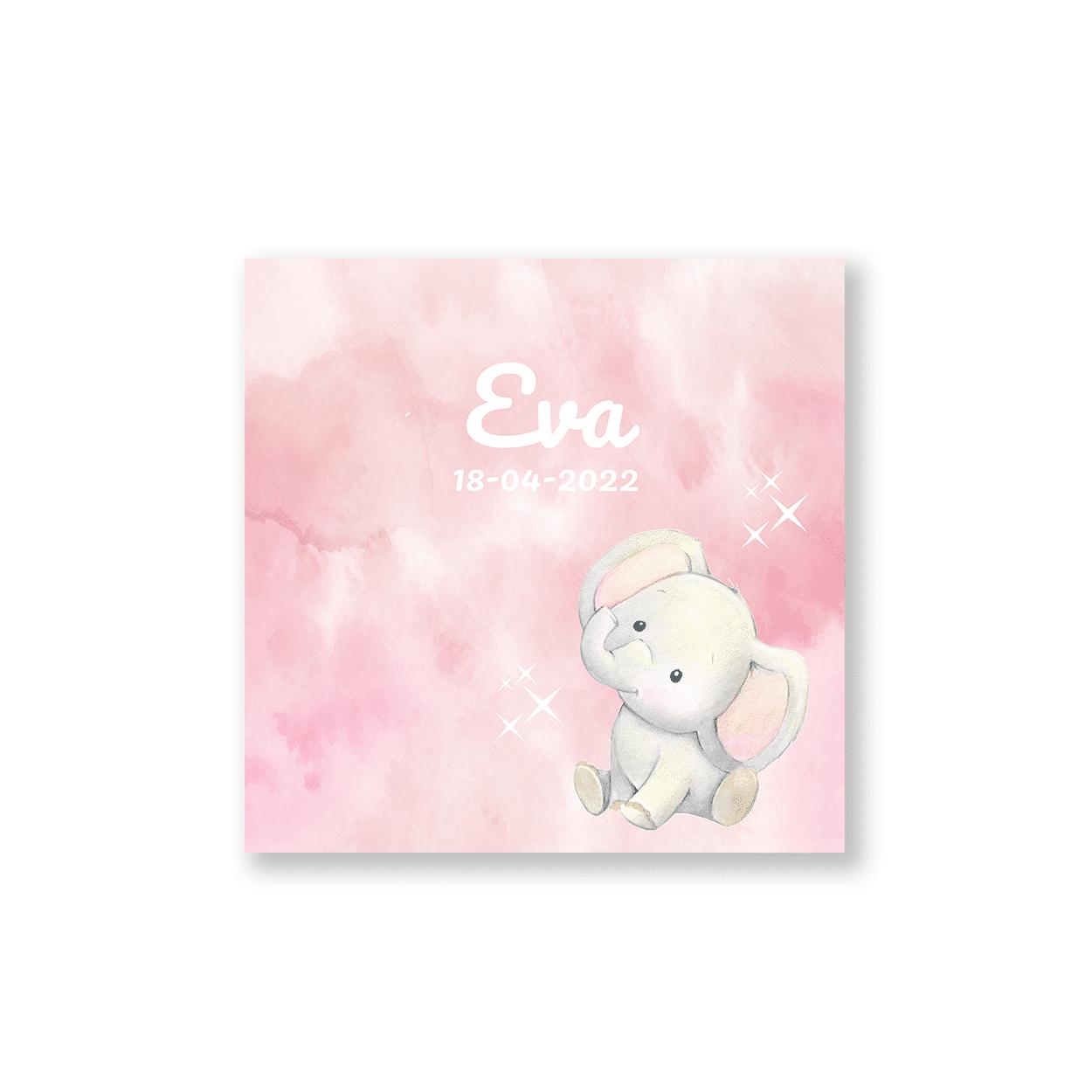 Hip geboortekaartje roze waterverf met olifantje voorzijde