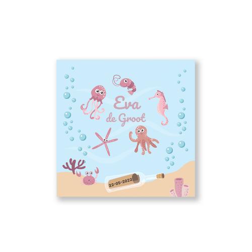 Hip geboortekaartje meisje onderwater thema voorzijde