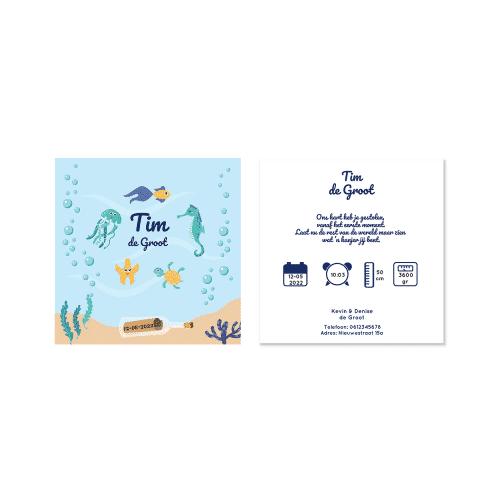 Hip geboortekaartje jongen onderwater thema voor en achter