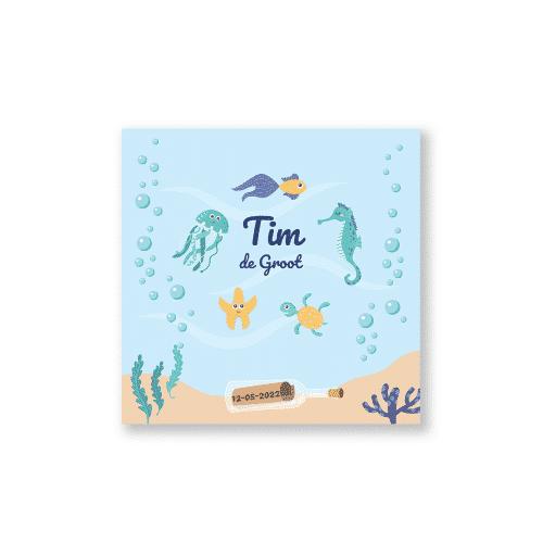 Hip geboortekaartje jongen onderwater thema voorzijde