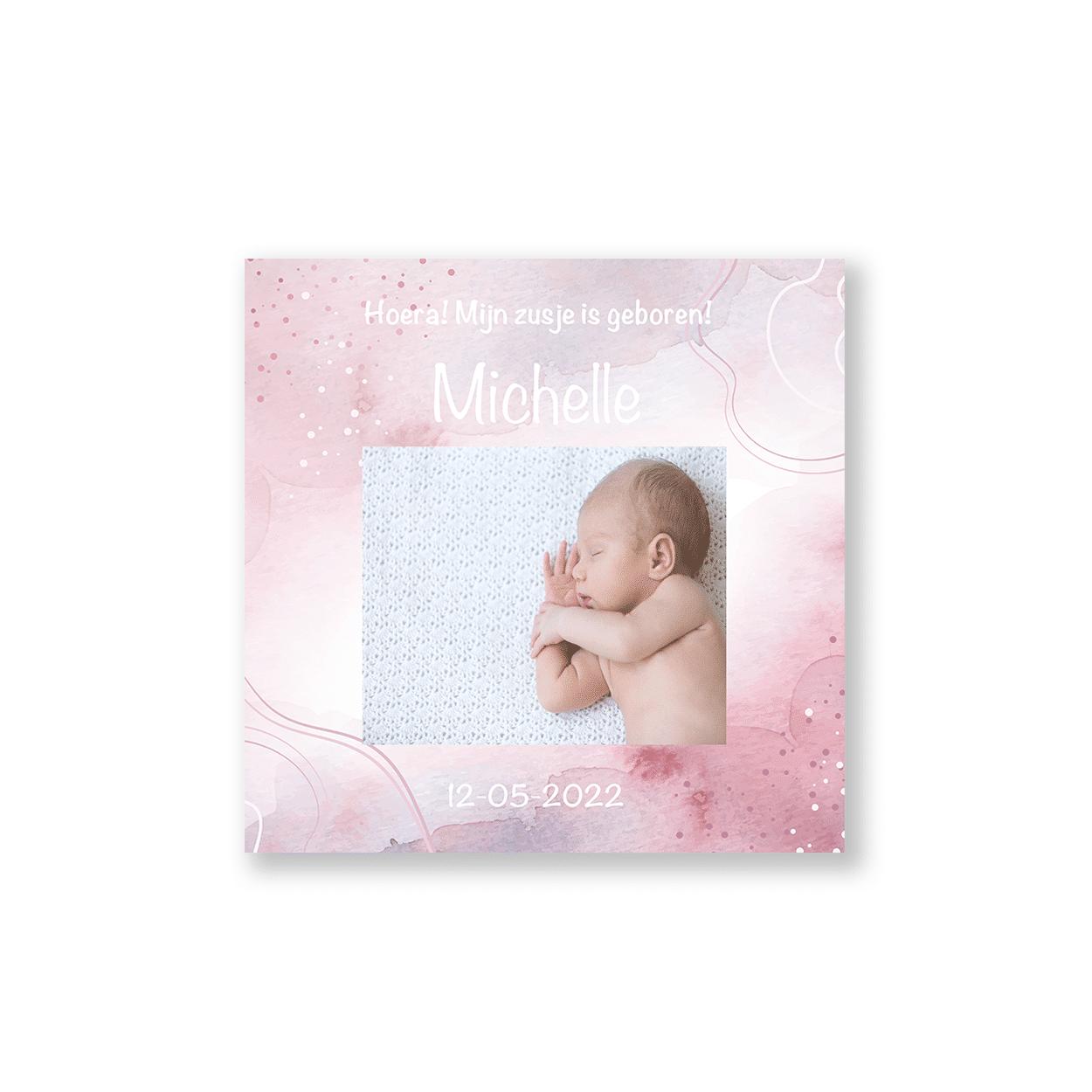 geboortekaartje meisje met roze verf en foto voorzijde